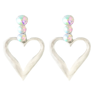 E-4342 New Fashion silver Plated Alloy Crystal Rhinestone Heart shape pendant earrings