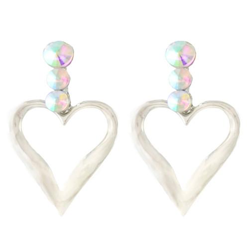E-4342 New Fashion silver Plated Alloy Crystal Rhinestone Heart shape pendant earrings