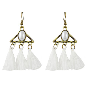 E-4341 Vintage Bronze Alloy Acrylic Gemstone Triangle Thread Tassel Earrings