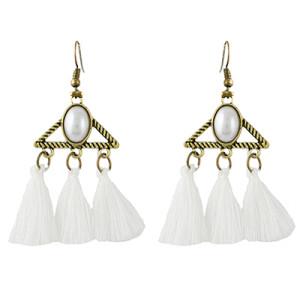 E-4341 Vintage Bronze Alloy Acrylic Gemstone Triangle Thread Tassel Earrings
