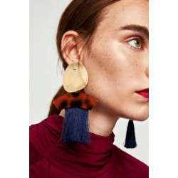 E-4348 6 Colors Fashion Bohemian Stud Alloy Tassel Pendant Earring for Women Jewelry