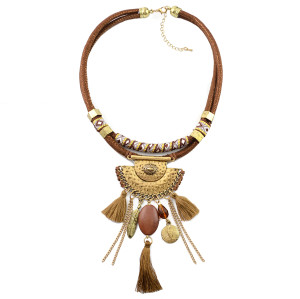 N-6938 4color New Fashion Gold plated Alloy Leather Thread tassel pendant Necklace Accessory
