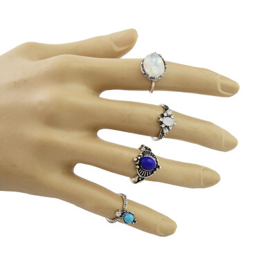 R-1481 4Pcs/set Bohemian Blue Stone Midi Finger Ring Sets for Women Fashion Jewelry Accessories