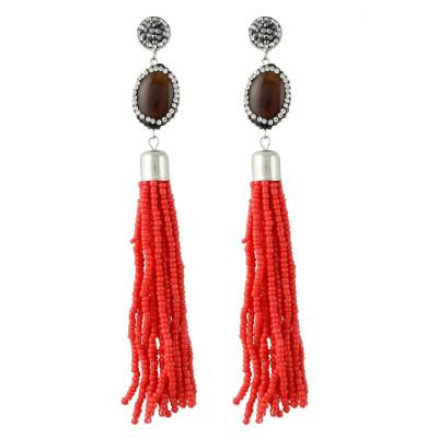 E-4344 4 Colors Fashion Bohemian Stud Crystal Tassel Bead Earring for Women Jewelry