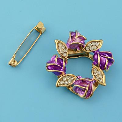 P-0383 Fashion  Gold Plated Enamel Rhinestone Rose Flower Scarf Clip Pin Brooch