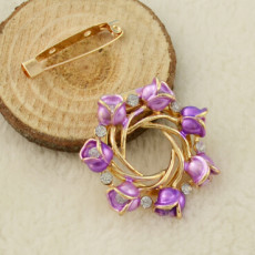 P-0384 Flower Gold Metal Beads Rhinestone Brooches Scarf Pins for Women Clothes Accessories