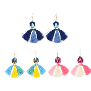 E-4240 Fashion 3 Colors Women Thread Tassel Drop Earrings Bohemian Wedding Party Jewelry Gift