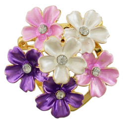 P-0385 Gold Metal Rhinestone Enamel Flower Brooches Scarf Pins for Women Clothes Accessories
