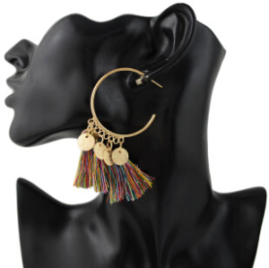 E-4345 4 Colors Ethnic Long Thread Tassel Drop Earrings for Women Bohemian Party Fashion Accessories