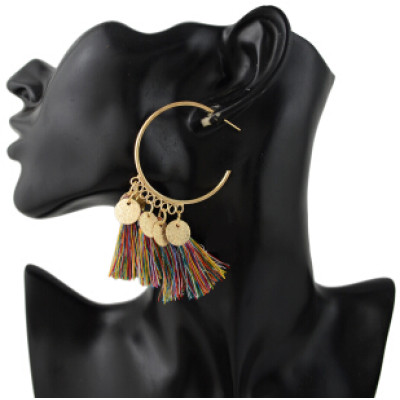 E-4345 4 Colors Ethnic Long Thread Tassel Drop Earrings for Women Bohemian Party Fashion Accessories