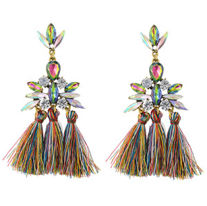 E-4346 4 Colors Golden Alloy Acrylic Crystal Gem Silk Thread Tassel Shourouk Earrings