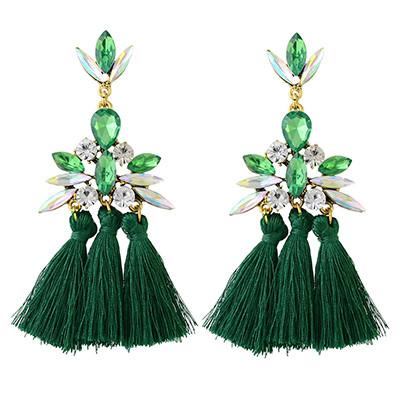E-4346 4 Colors Golden Alloy Acrylic Crystal Gem Silk Thread Tassel Shourouk Earrings