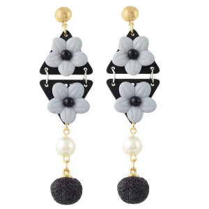 E-4347 4 Colors New Fashion Gold Plated Alloy bead Pearl Resin Ball pendant Earrings