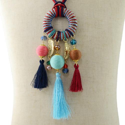 N-6943 4 Colors Fashion Pendant Dangle Pom pom Bead Tassel Earring for Women Jewelry
