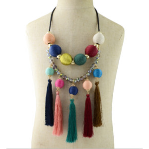N-6940 Black Leather Colorful Pom Pom Ball Long Thread Tassel Pendant Necklaces for Women Party Jewelry