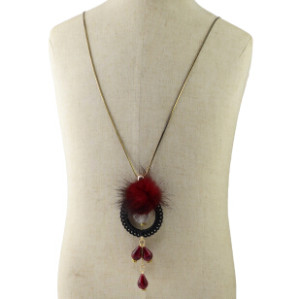 N-6941 Fashion jewelry Plush Beads Long Charm Necklace For Women