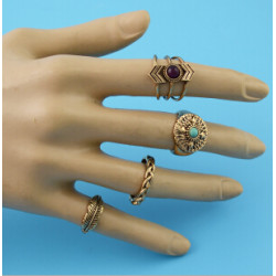 R-1482 8Pcs/set Bohemian Flower Stone Midi Finger Ring Sets for Women Fashion Jewelry Accessories