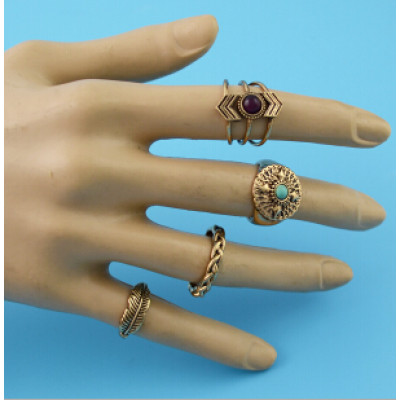 R-1482 8Pcs/set Bohemian Flower Stone Midi Finger Ring Sets for Women Fashion Jewelry Accessories