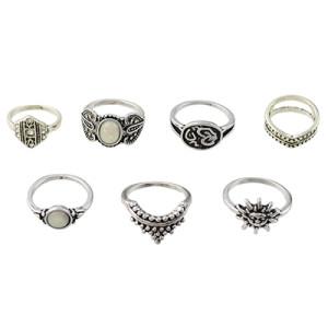 R-1483 7Pcs/set Gypsy Silver Gold Acrylic Stone Crown Sun Midi Finger Ring Sets Fashion Jewelry Accessories