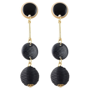 E-4350 Fashion Gold Plated Green Black Acrylic Ball pendant Earrings Bohemian Party Accessories