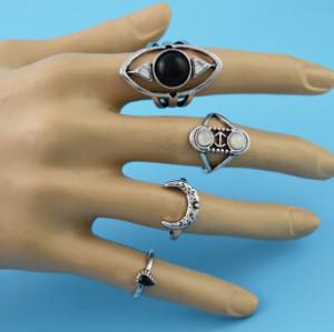 R-1485 8Pcs/set Gypsy Silver Gold Acrylic Stone Rhinestone Enamel Moon Midi Finger Ring Sets Fashion Jewelry Accessories