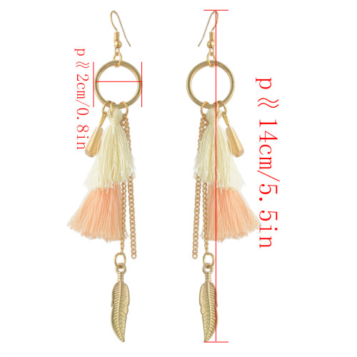 E-4353 5 Colors Fashion Gold plated Hook Pendant Tassel Dangle Leaf Chain Earring for Women Jewelry