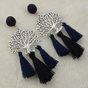E-4354 5 Colors Silver Plated Alloy thread Tree Shaped Drop Dangle Earrings Jewelry
