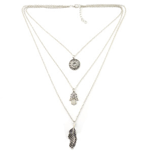 N-6956 New Fashion Silver Plated Rhinestone Chart Hand leaves pendant Necklace