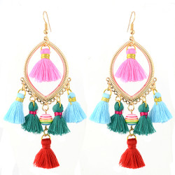 E-4351 Fashion Gold plated Thread Tassel Dangle Earrings Women Jewelry