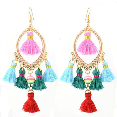 E-4351 Fashion Gold plated Thread Tassel Dangle Earrings Women Jewelry