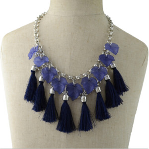 N-6949 Fashion Bohemian Silver Metal Thread Tassel Pendant Necklaces for Women Party Jewelry