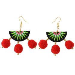 E-4358 Gold Plated Thread Fan Shape Pom Pom Balls Dangle Earrings