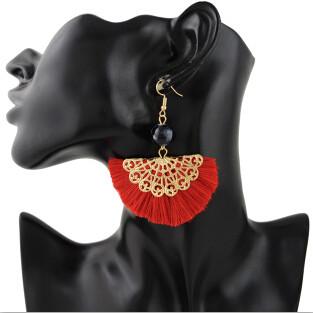 E-4357 3 Colors Gold Plated Alloy thread tassel fan Drop Dangle Earrings Jewelry