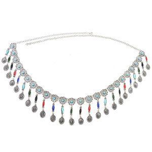 N-6945 Bohemian Silver Plated Colorful Bead Body Chain Bell Carved Hollow Out Flower Waist Belly Chain for Women Jewelry