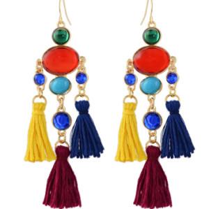 E-4356 Fashion Colorful Tassel Rhinestone Statement Drop Earrings for Women Bohemian Party Jewelry