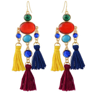 E-4356 Fashion Colorful Tassel Rhinestone Statement Drop Earrings for Women Bohemian Party Jewelry