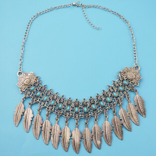 N-6944 Fashion Silver Plated Leaf Choker Chain Necklace for Women Jewelry