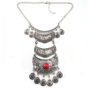 N-6947 Fashion Silver Plated Alloy Carving Metal Resin Gem Flower Drop Choker Necklace for Women Jewelry