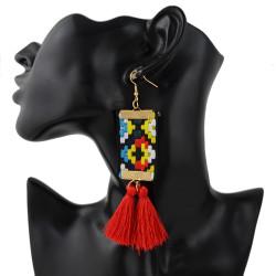 E-4364 New Fashionn 3Colors Gold Plated Alloy Colorful cloth thread Pendant earrings