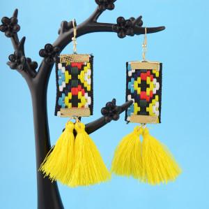 E-4364 * New Fashionn 3Colors Gold Plated Alloy Colorful cloth thread Pendant earrings