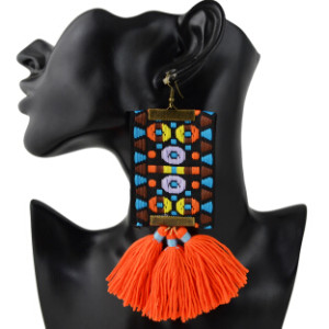 E-4365 New Fashionn 3 Colors Metal  Alloy Colorful cloth thread Tassel Pendant earrings