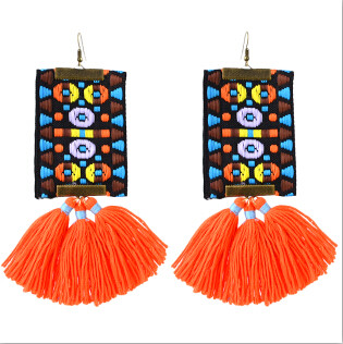 E-4365 New Fashionn 3 Colors Metal  Alloy Colorful cloth thread Tassel Pendant earrings