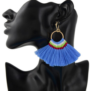 E-4359 Ethnic Handmade Thread Tassel Drop Earrings for Women Bohemian Fashion Jewelry Accessories