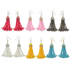 E-4158 7 colors Boho Style Shiny Alloy  Diamante Beads Chain Tassel Pendant Charm Women Jewelry