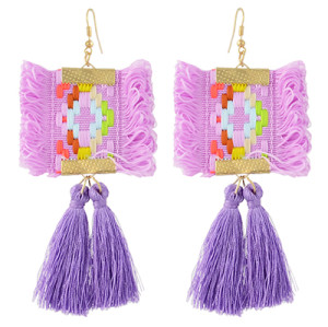 E-4366 Ethnic  Geometric Flower Thread Tassel New Design Dangle Earrings Women Accessories