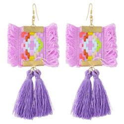 E-4366 Ethnic  Geometric Flower Thread Tassel New Design Dangle Earrings Women Accessories