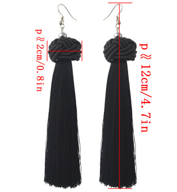 E-4363 Bohemian Black Thread Tassel Drop Earrings for Women Ladies Party Anniversary Birthday Gift