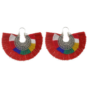 E-4369 New Fashion 6 Colors Silver Plated Alloy thread Tassel Pendant earrings Jewelry