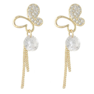 E-4371 Fashion Butterfly Shape Gold Metal Rhinestone Drop Earrings for Women Bohemian Party Jewelry