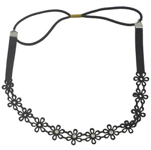 F-0466 New Fashion Black Pu Leather Hollow Out Flower Hairband women Accessory